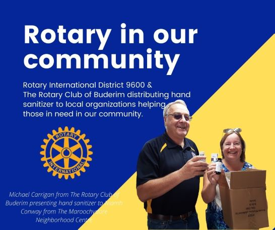 Michal Carrigan from The Rotary Club of Buderim presenting hand sanitizer to Niamh Conway of The Maroochydore Neighborhood Centre.